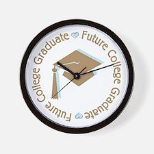 Cute Blue Future College Graduate Wall Clock