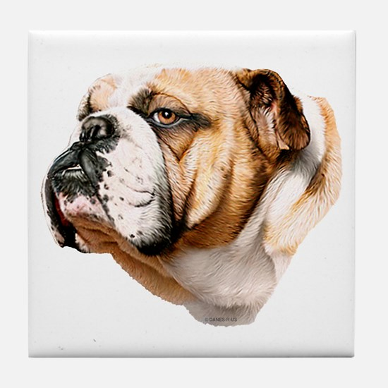 Bulldog Bust Tile Coaster