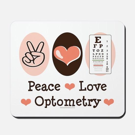 Peace Love Optometry Eye Chart Mousepad
