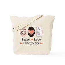 Peace Love Optometry Eye Chart Tote Bag
