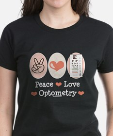Peace Love Optometry Eye Chart Dark T-Shirt
