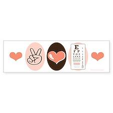 Peace Love Optometry Eye Chart Bumper Bumper Sticker