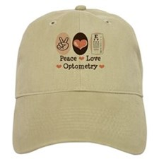 Peace Love Optometry Eye Chart Baseball Baseball Cap