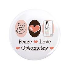 "Peace Love Optometry Eye Chart 3.5"" Button"