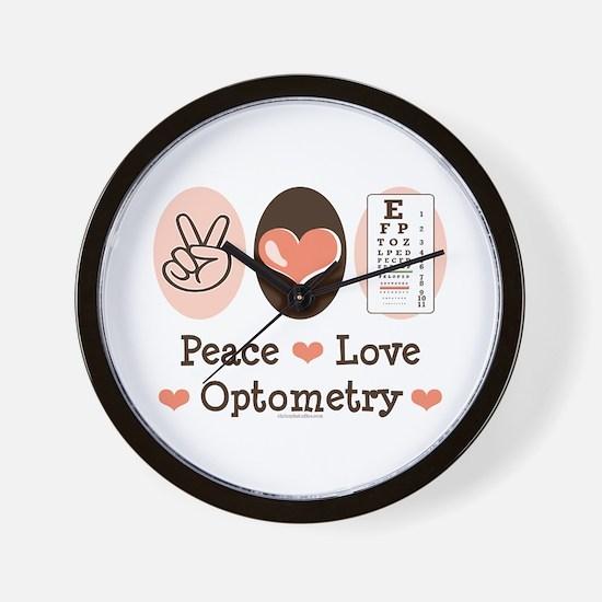 Peace Love Optometry Eye Chart Wall Clock
