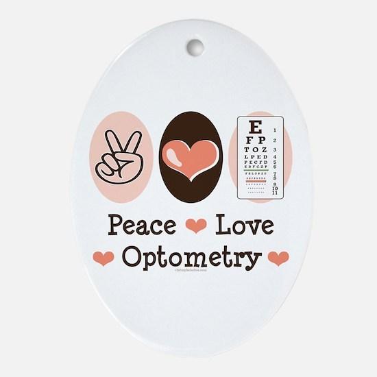Peace Love Optometry Eye Chart Oval Ornament