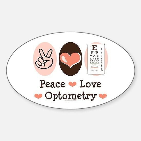 Peace Love Optometry Eye Chart Oval Decal