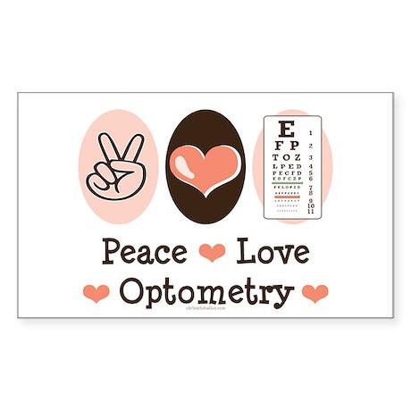 Peace Love Optometry Eye Chart Rectangle Sticker
