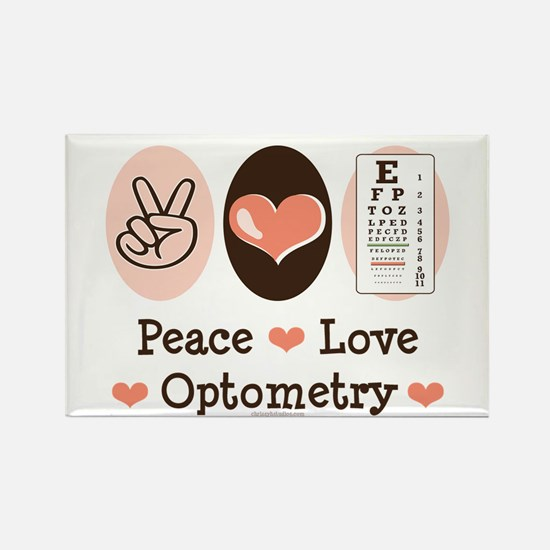 Peace Love Optometry Eye Chart Rectangle Magnet