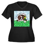 Bassett Hound Party guy!! Women's Plus Size V-Neck