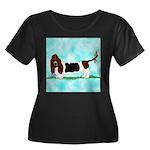 Basset Hound Women's Plus Size Scoop Neck Dark T-S