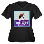 Boxer Puppy Women's Plus Size V-Neck Dark T-Shirt