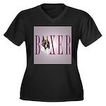 Boxer Banner Women's Plus Size V-Neck Dark T-Shirt