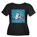 Siberian Husky and Puppy Women's Plus Size Scoop N