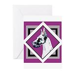 Harlequin Great Dane design Greeting Cards (Pk of
