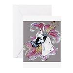 Feminine Harlequin Great Dane Greeting Cards (Pk o