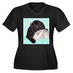 Sleepy Newfoundland Puppy Women's Plus Size V-Neck