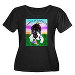 Bowing Boston Terrier Women's Plus Size Scoop Neck