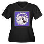 Chinese Crested Pair Women's Plus Size V-Neck Dark