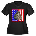 Black Poodle Women's Plus Size V-Neck Dark T-Shirt