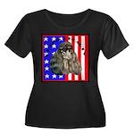 Black Poodle Women's Plus Size Scoop Neck Dark T-S