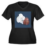 Poodle Pair Women's Plus Size V-Neck Dark T-Shirt