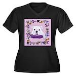 Bulldog puppy with flowers Women's Plus Size V-Nec