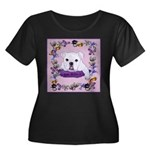 Bulldog puppy with flowers Women's Plus Size Scoop