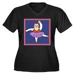 The Bullarina Women's Plus Size V-Neck Dark T-Shir