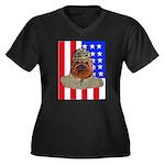 Bullldog Marine Women's Plus Size V-Neck Dark T-Sh