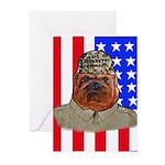 Bullldog Marine Greeting Cards (Pk of 20)
