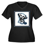 Dalmatian Head Study Women's Plus Size V-Neck Dark