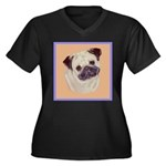Typical Chinese Pug Women's Plus Size V-Neck Dark