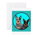 Australian Cattle Dog Pair Greeting Cards (Pk of 2