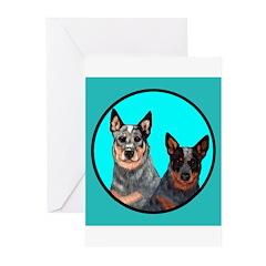 Australian Cattle Dog Pair Greeting Cards (Pk of 2