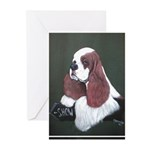 Cocker Spaniel parti colored Greeting Cards (Pk of