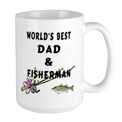 Worlds Best Dad and Fisherman Large Mug