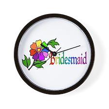 Rainbow Flower Bridesmaid Wall Clock