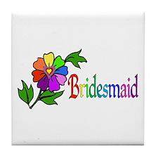 Rainbow Flower Bridesmaid Tile Coaster