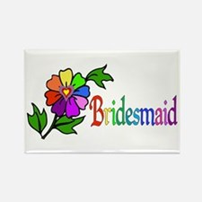 Rainbow Flower Bridesmaid Rectangle Magnet