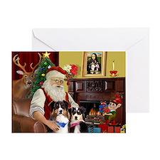 Santa's 2 Aussie Shepherd Greeting Card