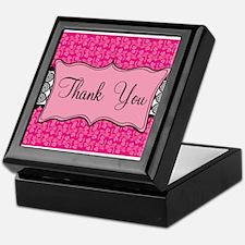 Hot Pink Black Thank You Keepsake Box