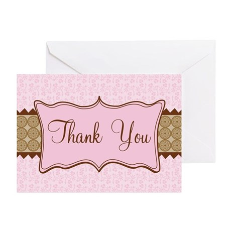 Pink Brown Flowered Thank You Greeting Cards (Pk o