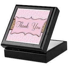 Pink Brown Flowered Thank You Keepsake Box