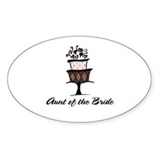 Aunt of the Bride Pink Cake Oval Decal