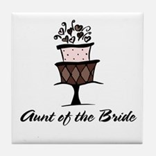 Aunt of the Bride Pink Cake Tile Coaster