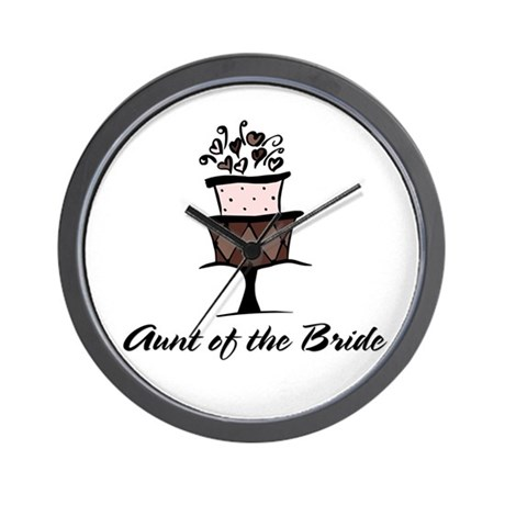 Aunt of the Bride Pink Cake Wall Clock
