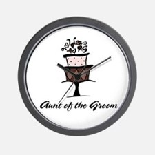 Aunt of the Groom Pink Cake Wall Clock