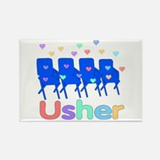Usher Hearts and Chairs Rectangle Magnet