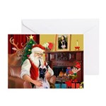 Santa's Great Dane (f) Greeting Cards (Pk of 10)